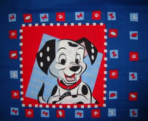 Disney 101 Dalmatians 2 Blocks for Quilt or Pillow 1/2 Yard Fabric Panel