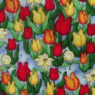 FQ Love Bug Tulips Allover on Blue Toile Cotton Fabric Fat Quarter