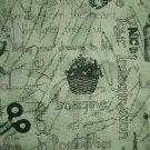 Debbie Mumm Creative Woman Inspirational Sayings & Craft Supplies on Green SSI Fabric Fat Quarter FQ