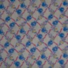 1 1/3 Yard RJR Hooked on Hankies Blue Pink Yellow Flowers Lattice Fabric Bolt End