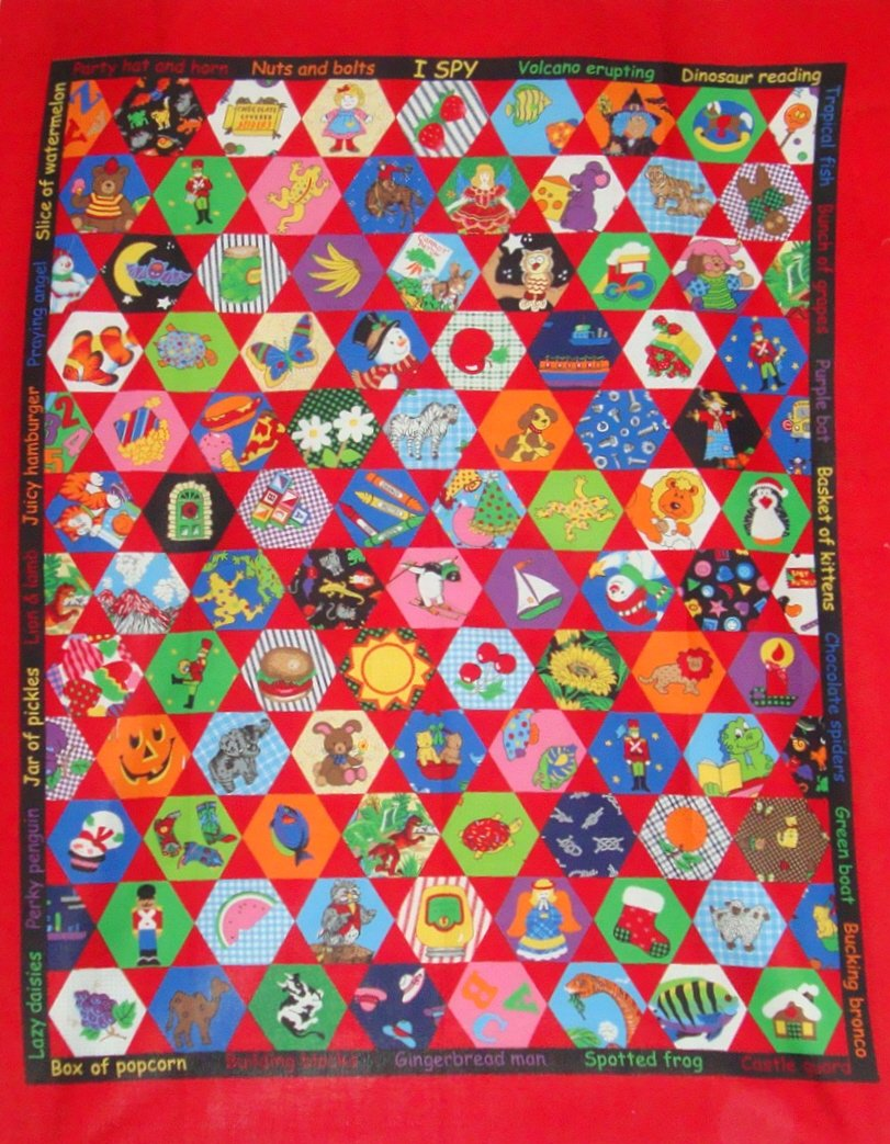Dreamspinners I Spy Cotton Quilt Top Wall Hanging Fabric