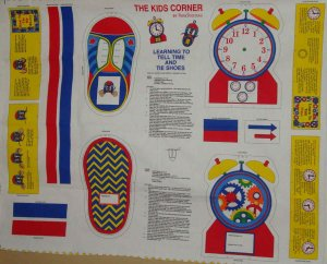 Learning to Tell Time & Tie Shoes Kids Corner Fabric Panel LAST ONE!