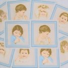 "Early Enchantment Vintage Baby Portrait Bordered by Blue Gingham Fabric 8"" Quilt Blocks Pack"