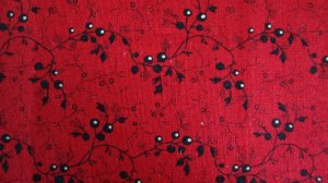 BTY Tiny Black Flowers on Red In the Beginning Blended Collection Fabric By the Yard