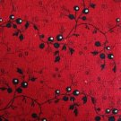 Bolt End In the Beginning Tiny Black Flowers on Red Blended Collection Fabric 2/3 Yards