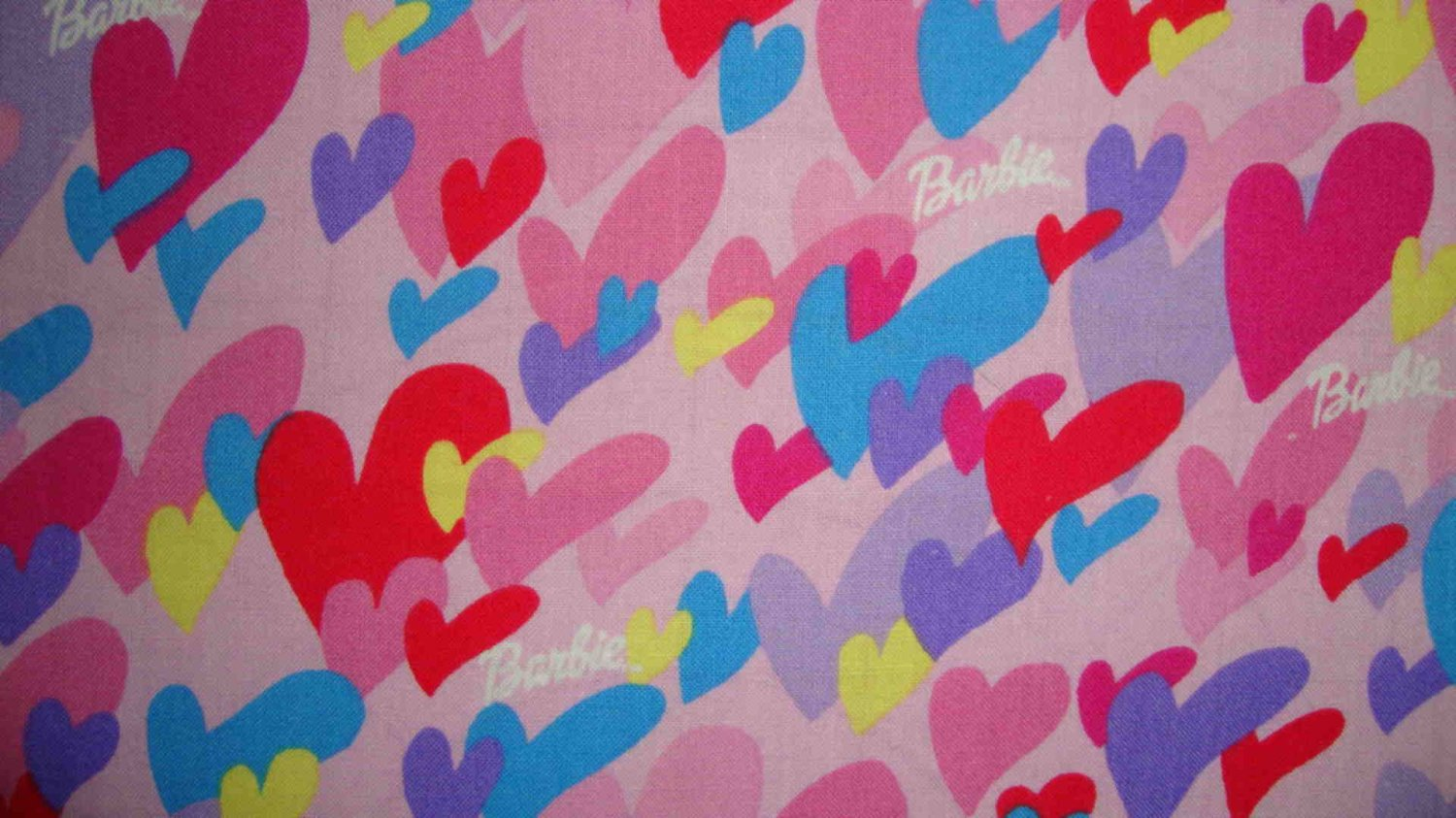 1/2 Yard Barbie Mattel Heart & Logo Toss on Pink Cotton Fabric Bolt End