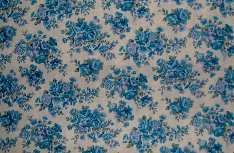 7/8+ Yard Blue & Lavender Flowers on Tan Toile Vines Cotton Fabric Cranston Print Works VIP Bolt End
