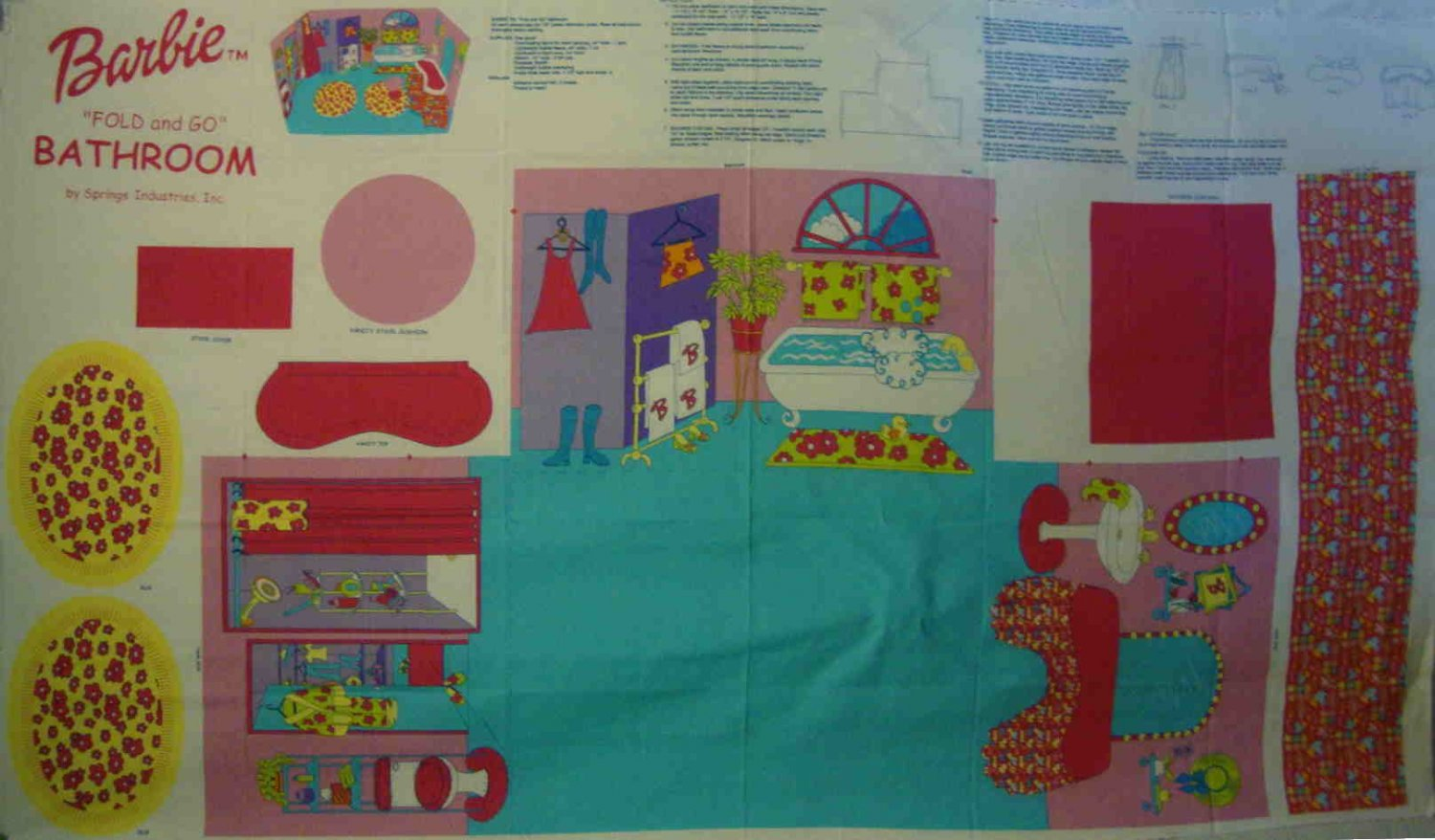 Barbie Fold and Go Bathroom Add A Room Cotton Fabric Panel LAST ONE!