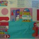 Barbie Fold and Go Bathroom Add A Room Cotton Fabric Panel LAST ONE!