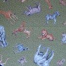 FQ Wild Jungle Safari Animals Tossed on Green Cotton Quilt Fabric Fat Quarter