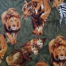 FQ Wild Jungle Safari Animals Appliques on Green Cotton Quilt Fabric Fat Quarter