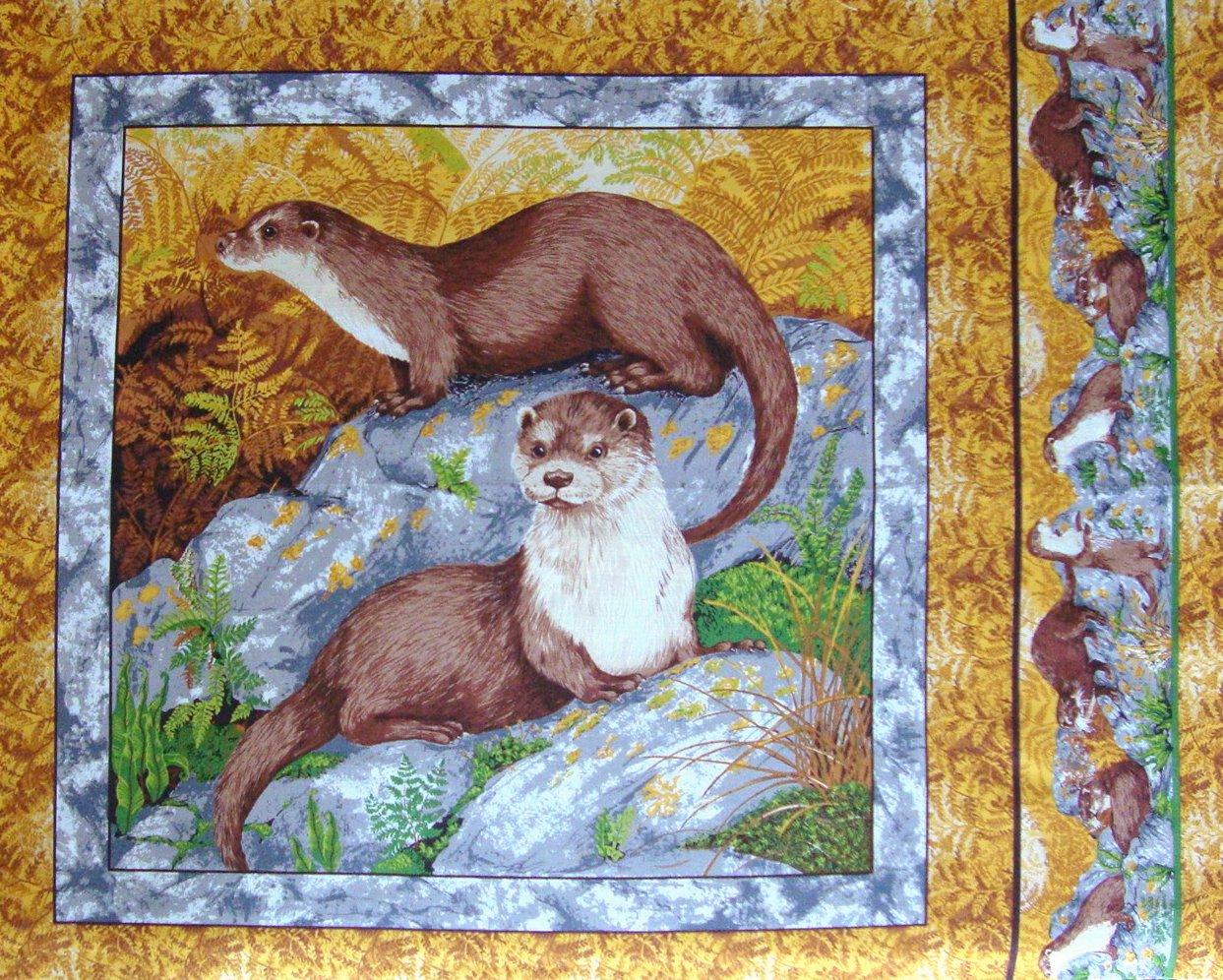 FQ Makower River Bank Otters Pillow Quilt Block Cotton Fabric Fat Quarter