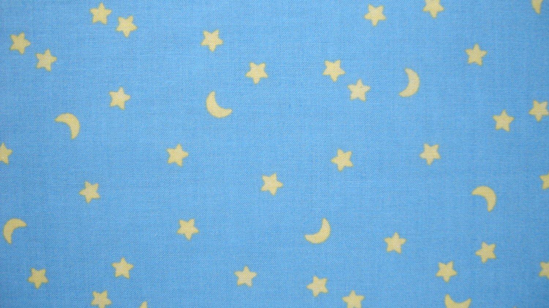 F8 Yellow Stars & Moon on Baby Blue Kids Cotton Fabric Fat ...