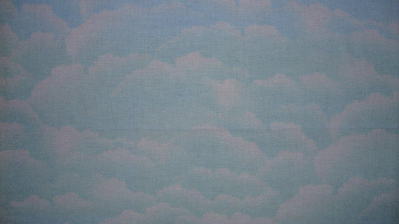 FQ Cotton Candy Blue Green Sky Clouds Fabric Fat Quarter