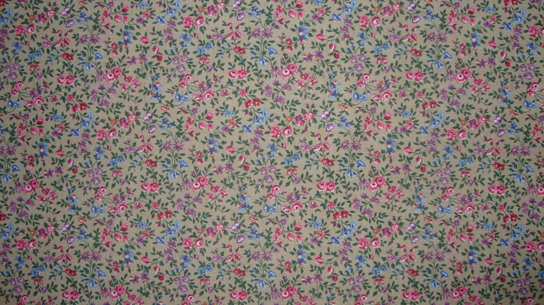 3/8 Yard Pink Blue & Purple Flower Calico on Tan Fabric Bolt End