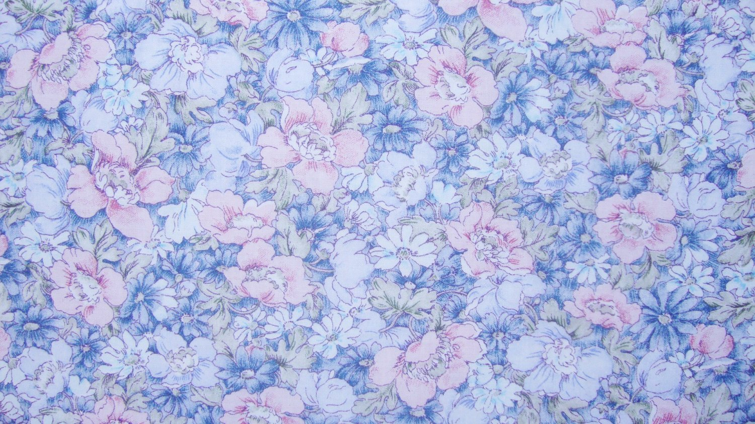 1/3 Yard Pink & Blue Flowers Allover Fabric Bolt End