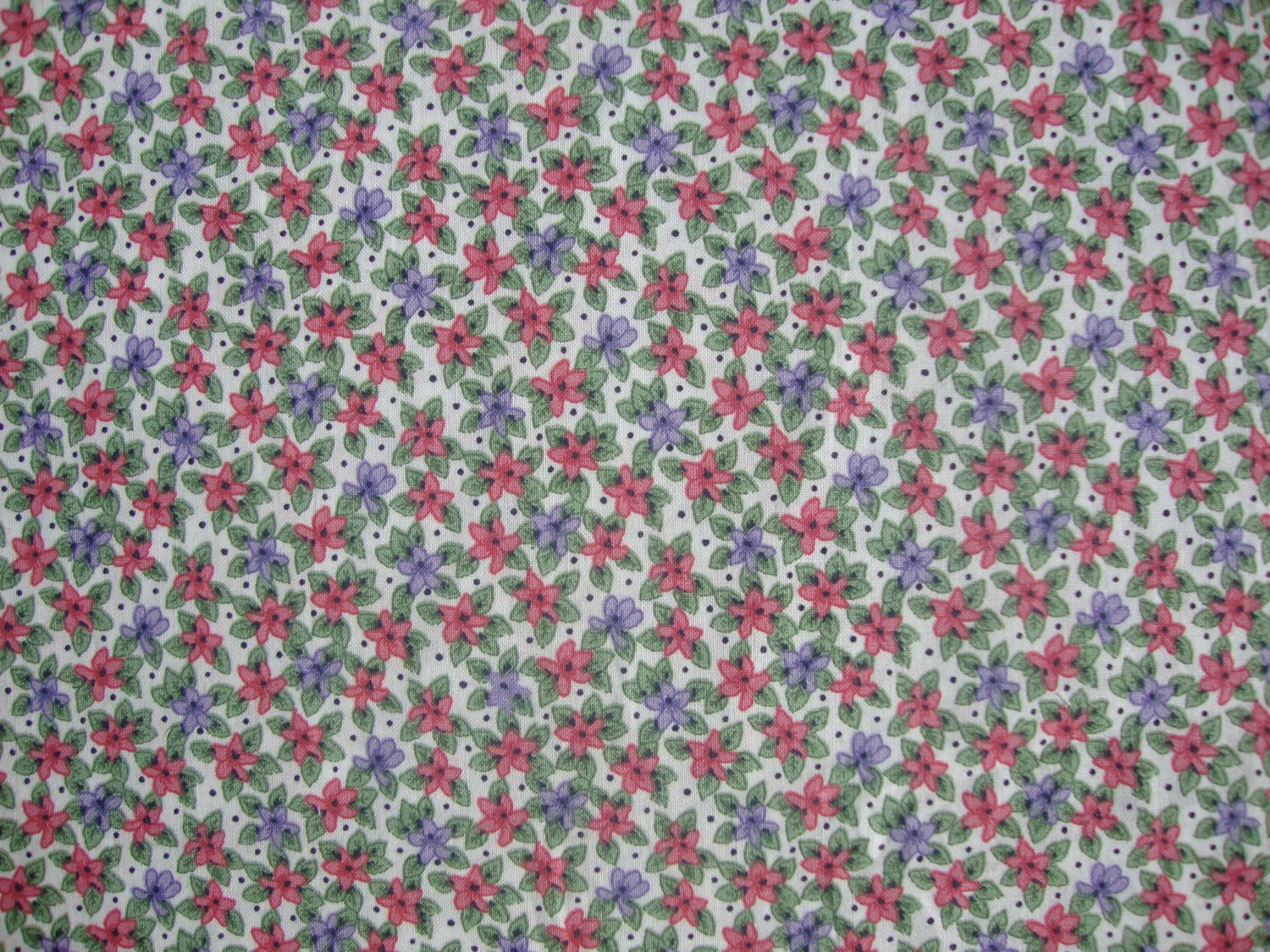 Yard red purple calico flowers on white cotton