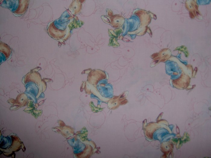 1 1/8+ Yard Beatrix Potter Peter Rabbit on Pink Toile Quilting Fabric Bolt End