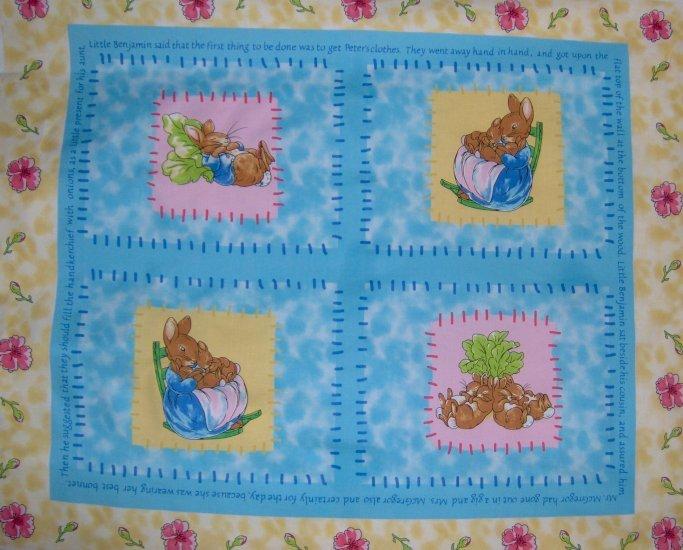 Beatrix Potter Peter Rabbit Quilt Top Wall Hanging Pillow Cotton Fabric Panel