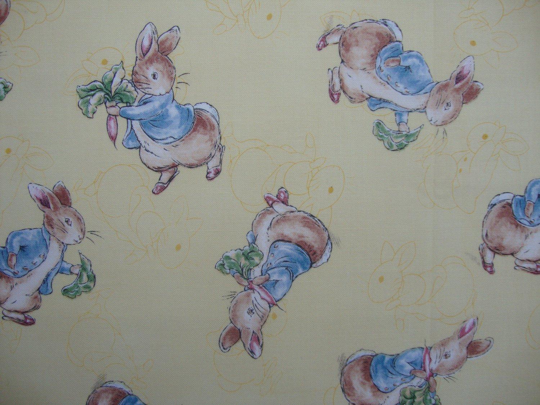 FQ Beatrix Potter Peter Rabbit on Yellow Toile Quilting Fabric Fat Quarter