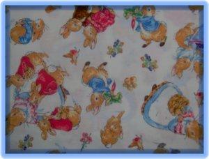FQ Beatrix Potter Character Toss on White Cotton Fabric Fat Quarter