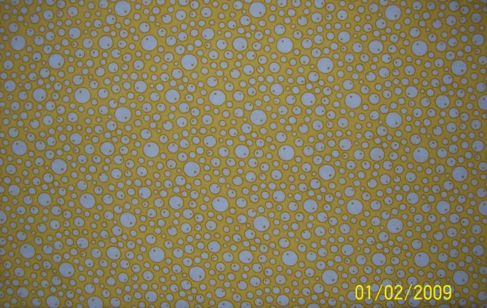 7/8+ Yard RJR Everything But the Kitchen Sink Bubbles on Yellow 1930s Repro Quilt Fabric Bolt End