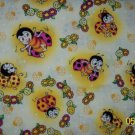 Love Bugs Yellow Lady Bugs and Flowers on Toile Cotton Fabric 1+ Yard LAST PIECE!