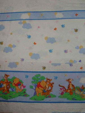 BTY Disney Winnie the Pooh Birds and Butterflies Border Fabric By the Yard
