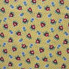 FQ RJR Few of My Favorite Things Red Blue Flowers on Yellow Quilting Fabric Fat Quarter