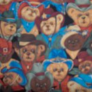 Bolt End Bears West Blue Cowboy Teddy Bear Packed Allover Cotton Kids Fabric Remnant