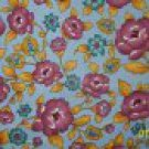 Peter Pan American Cottage Little Quilts Purple Flowers on Blue Fabric 1 1/2 Yards