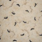 Noah's Ark Black Birds on Cream Sky with Clouds by Fabri Quilt 1 7/8+ Yard Fabric Remnant