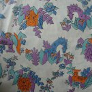 """Jungle Animal Toss on White Muslin 35"""" wide by 3 3/8+ Yard Quilt Fabric Remnant"""