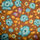 Peter Pan Little Quilts American Cottage Teal Flowers on Brown Fabric BTY
