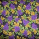 Purple Grape Clusters Vine Leaves on Black Cotton Quilt Fabric By-the-Yard