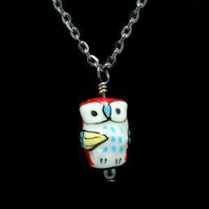 Red Owl Pendant Necklace