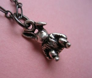 Tiny Pewter Bunny Necklace