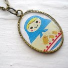 Matryona the Russian Bird Lover Matryoshka Doll Necklace