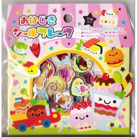 Kamio Japan Party Foods PVC Sticker Stack - Kawaii Desserts Stickers