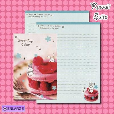 Sweet Pop Color *Raspberry Puff* Letter Set by Kamio Japan - Raspberries, dessert, bunny, kawaii