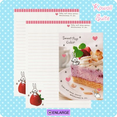 Sweet Pop Color *Strawberry Cake* Letter Set by Kamio Japan - Strawberries, bunny, kawaii
