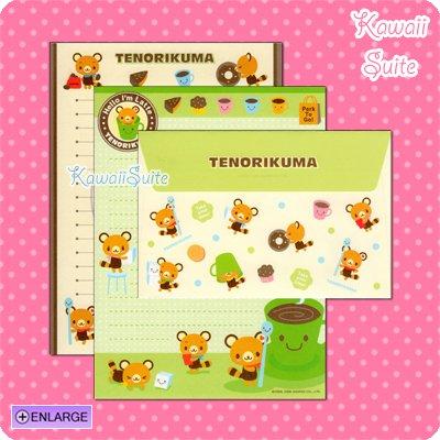 Tenorikuma Coffee, Cakes, & Donuts Letter Set by Sanrio Kawaii Doughnuts