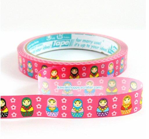 Matryoshka Dolls Deco Tape - Kawaii (Hot Pink)