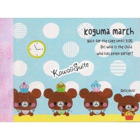 Mind Wave *Koguma March* Mini Memo Pad Kawaii Bears, Cupcakes, Desserts, Candies, Sweets