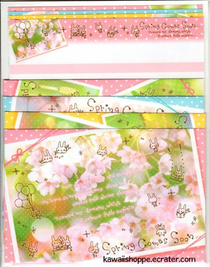 CRUX *Spring Comes Soon* Themed Letter Set Kawaii Flowers Bunny