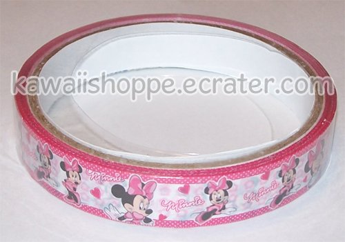 Disney Minnie Mouse Deco Tape #7 Pink & White w/ Polka Dots Hearts