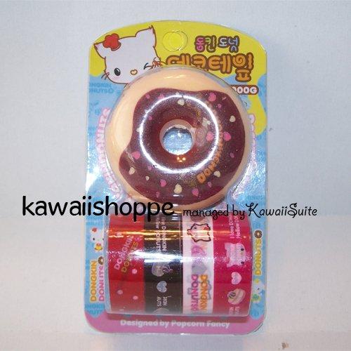 (C1) Kawaii Dongkin Donuts 4 Deco Tapes 1 Tape Dispenser