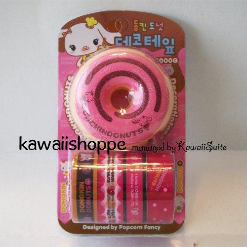 (S1) Kawaii Dongkin Donuts 4 Deco Tapes 1 Tape Dispenser