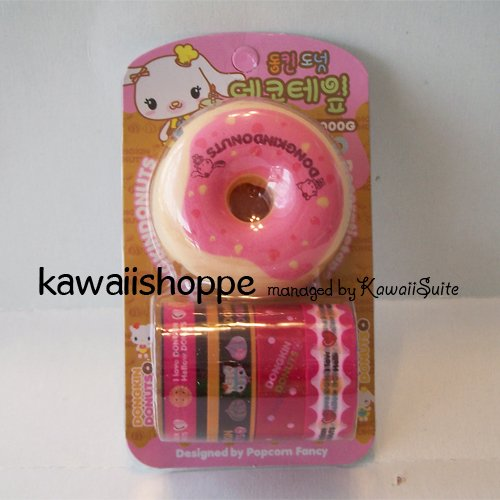 (S2) Kawaii Dongkin Donuts 4 Deco Tapes 1 Tape Dispenser