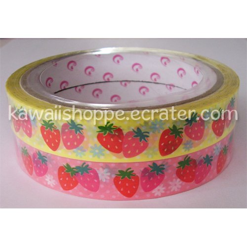 Strawberries 2 Rolls of Deco Tape - Kawaii Yellow Pink Strawberry Field Fruit Sweets Delicious